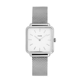 Ceas damă, cadran pătrat și curea din piele Cluse La Tétragone, argintiu de la Cluse