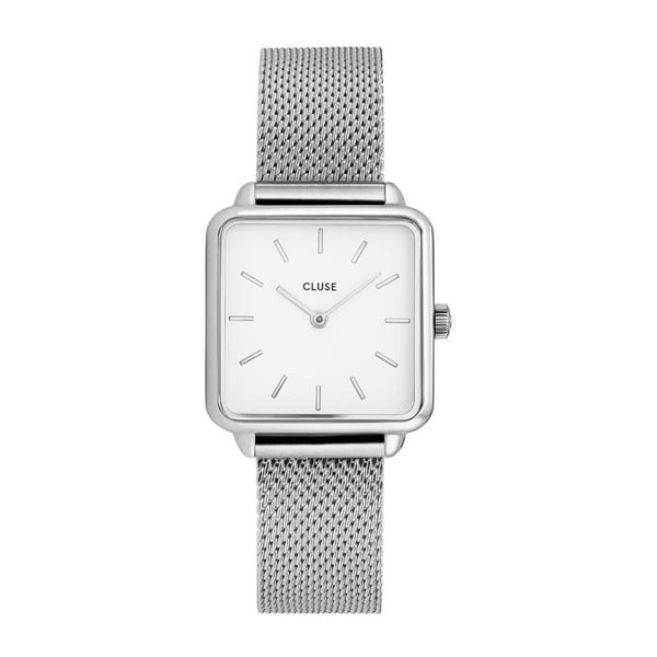 Dámské hodinky s hranatým ciferníkem a řemínkem ve stříbrné barvě Cluse La Tétragone