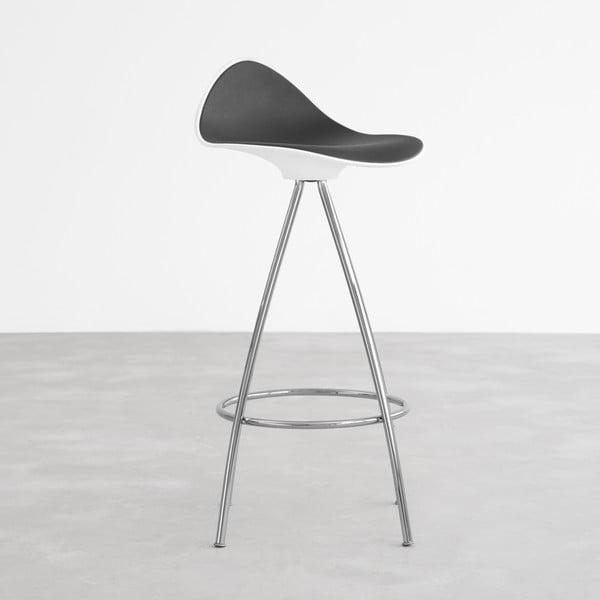 Černobílá  stolička s chromovanými nohami Stua Onda, 66cm
