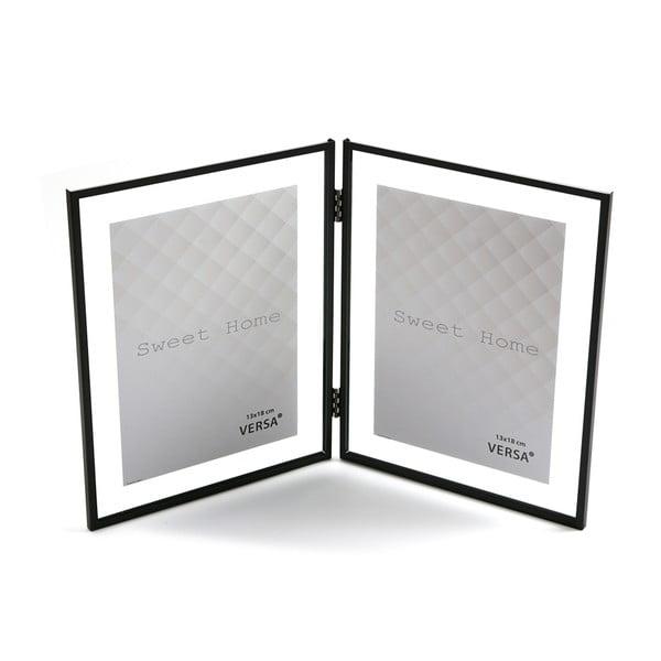 Černý dvojitý fotorámeček VERSA, na fotografii 13 x 18 cm