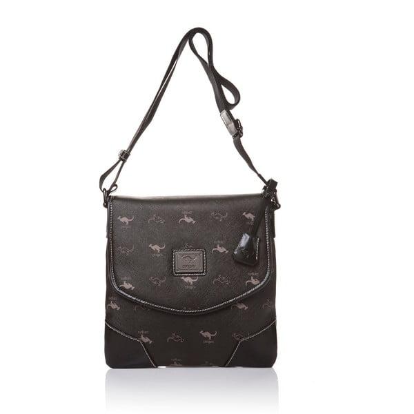 Kožená kabelka s dlouhým popruhem Canguru Louis, černá