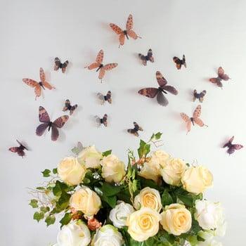 Set 18 autocolante adezive 3D Ambiance Butterflies Chic maro