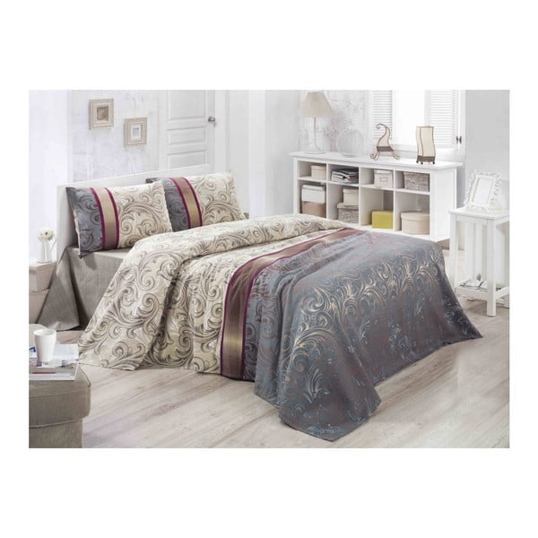 Lekka pikowana bawełniana narzuta na łóżko Carro Gris, 140x200 cm