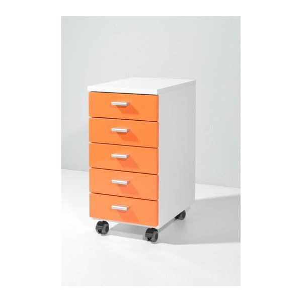 Oranžová skříňka na kolečkách Germania Rolling, 28 x 57 cm