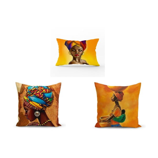 Set 3 fețe de pernă Minimalist Cushion Covers African Culture, 45 x 45 cm