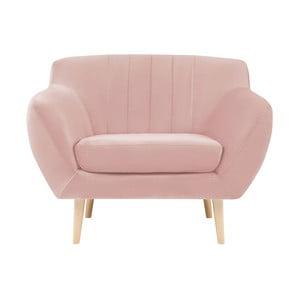 Fotoliu cu picioare de culoare deschisă Mazzini Sofas Sardaigne, roz deschis