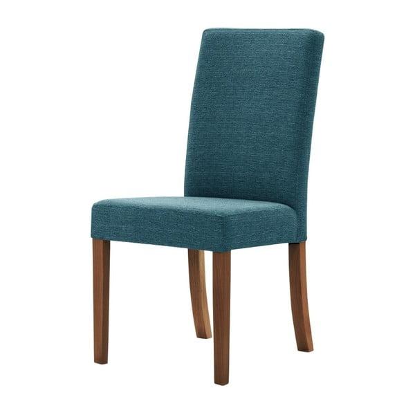 Tyrkysová židle s tmavě hnědými nohami z bukového dřeva Ted Lapidus Maison Tonka