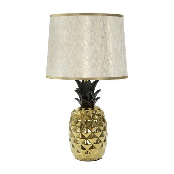 Bílá stolní lampa s konstrukcí ve zlaté barvě Mauro Ferretti Glam Ananas