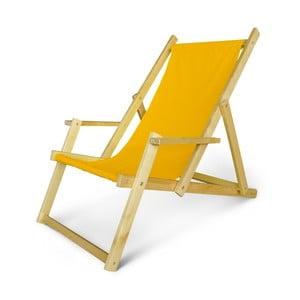 Dřevěné nastavitelné lehátko s područkami JustRest, žluté