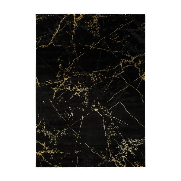 Černý koberec Universal Gold Marble, 80 x 150 cm