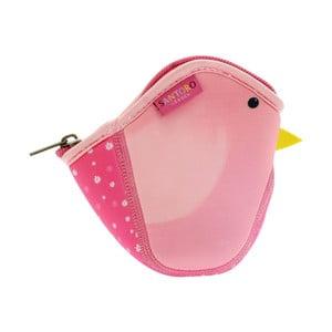 Růžová neoprenová kapsička ve tvaru ptáčka Kori Kumi
