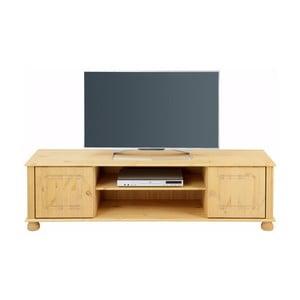 Hnědý dvoudveřový TV stolek z masivního borovicového dřeva Støraa Ella