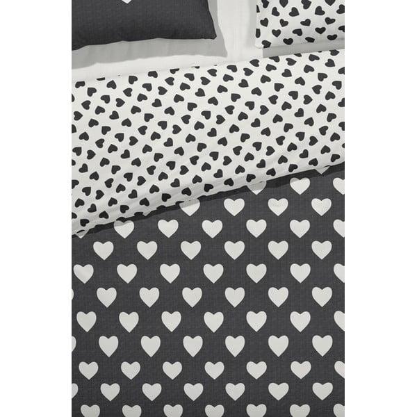 Povlečení Hearts 140x200 cm, černé