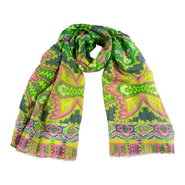 Šátek s příměsí hedvábí Shirin Sehan Gina Lime
