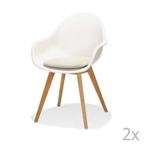 Sada 2 bílých zahradních židlí s podsedákem LifestyleGarden Montreux