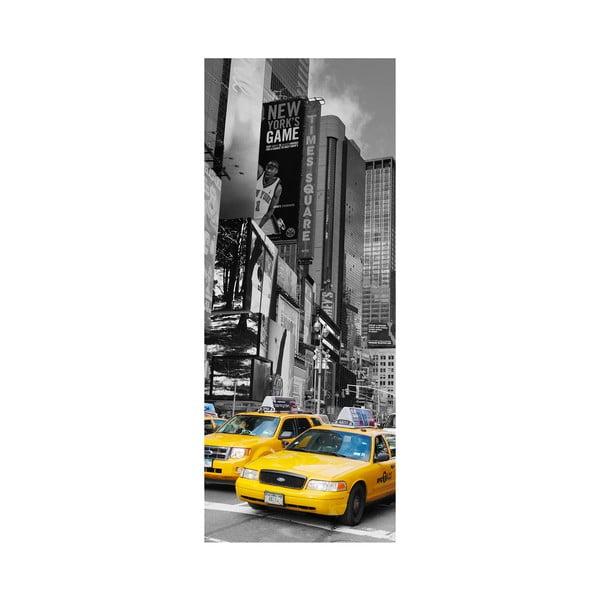 Adhezivní samolepka na dveře Ambiance Time Square Taxis