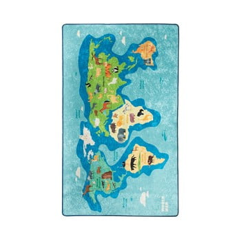 Covor antiderapant pentru copii Chilai Map,100x160cm, albastru imagine