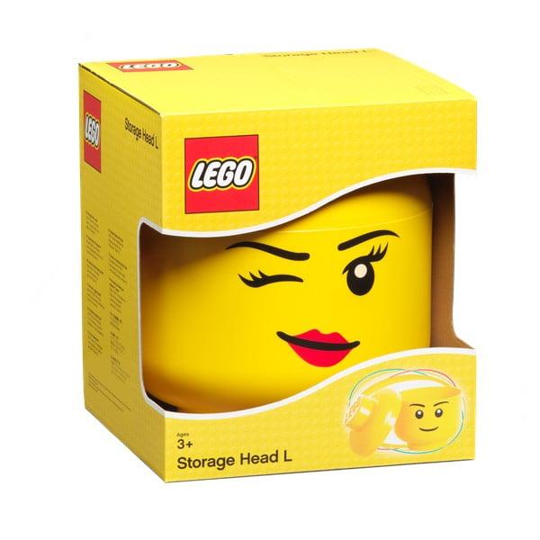 Żółty pojemnik w kształcie głowy LEGO® Winky, ⌀ 24,2 cm