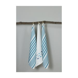 Sada 3 modro-bílých kuchyňských utěrek My Home Plus Fish, 50 x 70 cm