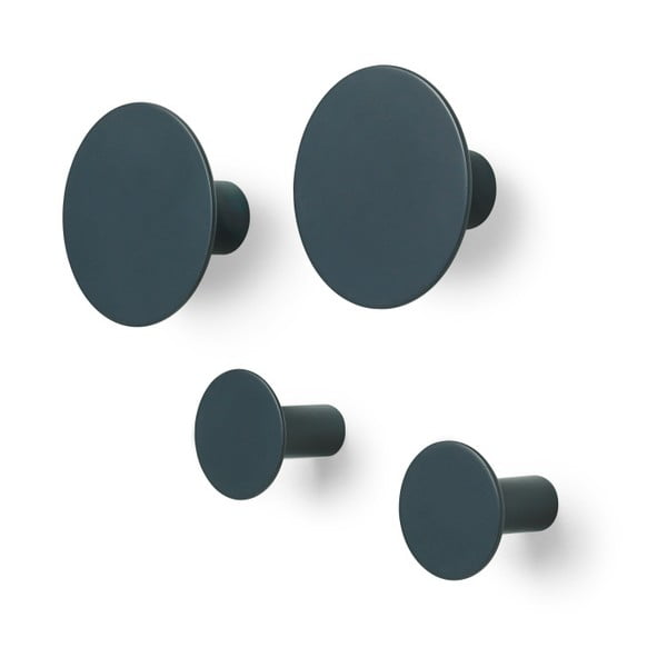 Sada 4 tmavě šedých nástěnných háčků Blomus Ponto