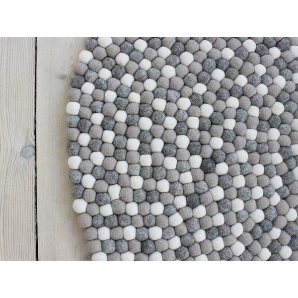 Svetlosivý guľôčkový vlnený koberec Wooldot Ball rugs, ⌀ 90 cm
