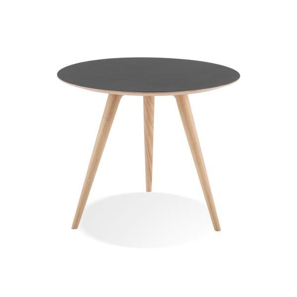 Příruční stolek z dubového dřeva s černou deskou Gazzda Arp, ⌀55cm
