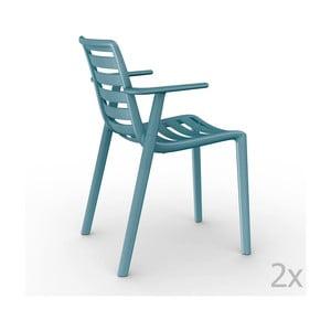 Sada 2 modrých  zahradních židlí s područkami Resol Slatkat