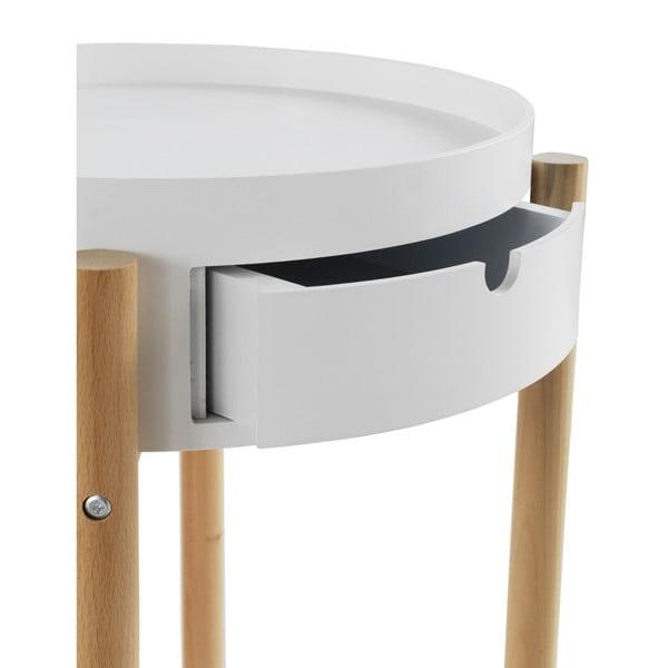 Măsuță auxiliară cu sertar și picioare din lemn de fag Geese Nordic Style Malo, alb
