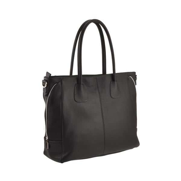 Kožená kabelka Emilio Masi Baiten, černá