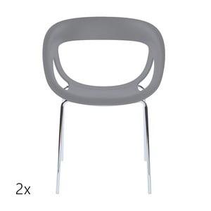 Set 2 šedých židlí Moema, chromové nohy