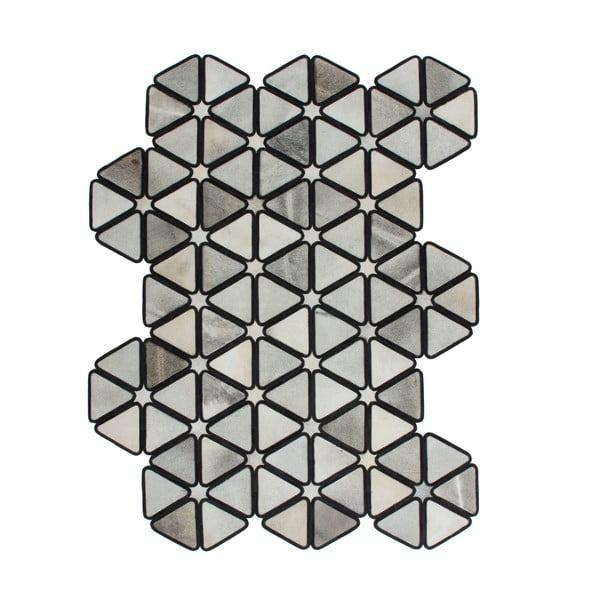 Kožený koberec Revolution Black, 90x144 cm