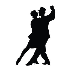 Černá nástěnná samolepka LineArtistica Tango, 40 x 60 cm