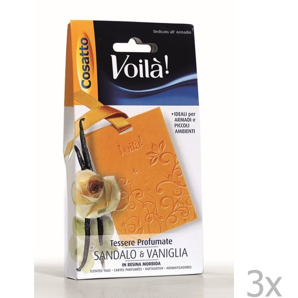 Sada 3 vonných karet s vůní vanilky a santalového dřeva Cosatto Perfume