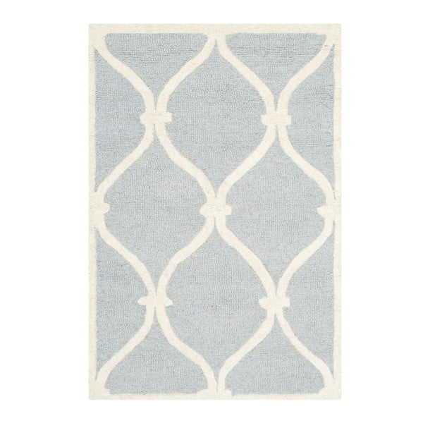 Světle modrý vlněný koberec Safavieh Hugo, 152 x 91 cm