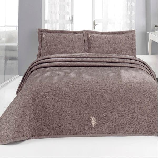 Set přehozu přes postel a polštáře U.S. Polo Assn. Melcroft Brown,180x260cm