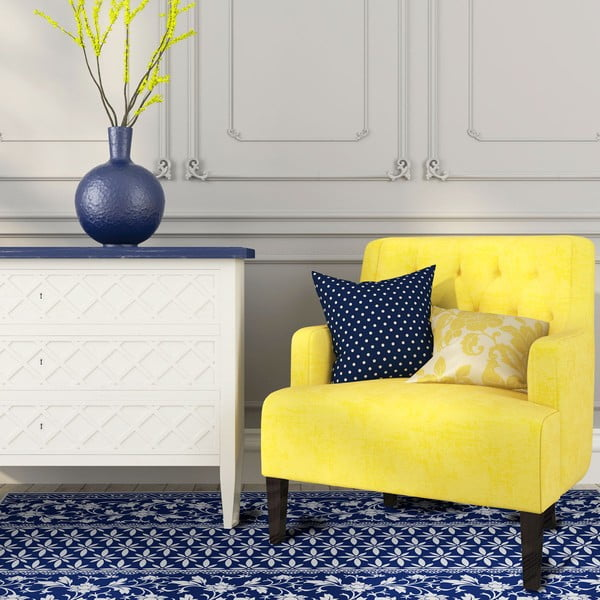 Odolný vinylový koberec Blue Flower, 60x100 cm