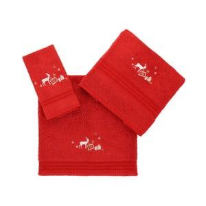 Sada 3 červených vánočních ručníků Stockings