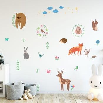 Set autocolante pentru perete Ambiance Scandinavian Animals of The Forest imagine