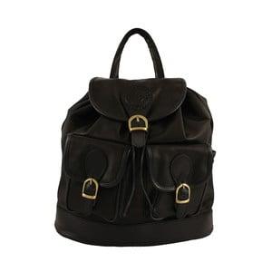 Černý kožený batoh Chicca Borse Becky