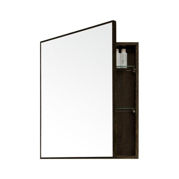 Mezza Dark tölgyfa fali tükör tárolóval, 45 x 55 cm - Wireworks