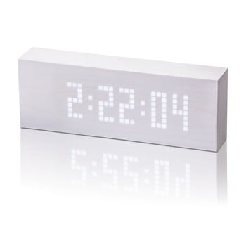 Ceas deșteptător cu LED Gingko Message Click Clock, alb
