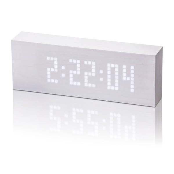 Biały budzik z białym wyświetlaczem LED Gingko Message Click Clock