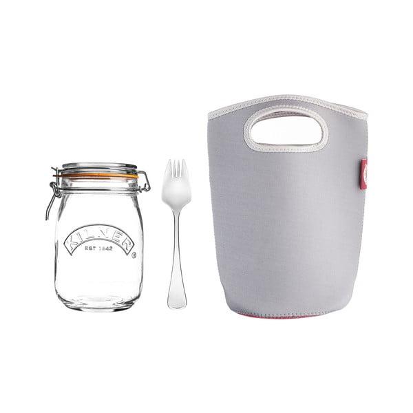 Velký set cestovní sklenice s klipem, vidličky a tašky Kilner