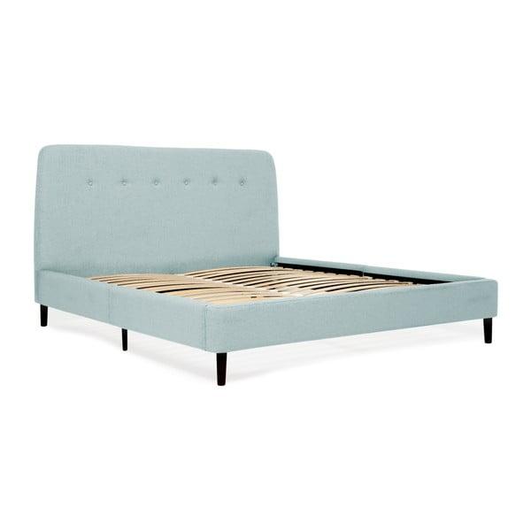 Mae türkizkék kétszemélyes ágy fekete lábakkal, 140 x 200 cm - Vivonita