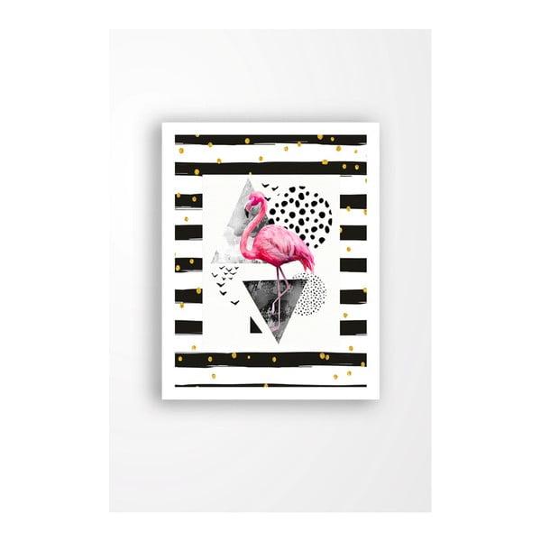 Tablou pe pânză în ramă albă Tablo Center Flamingo Black, 29 x 24 cm