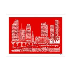 Plakát Miami Red&White, 50x70 cm