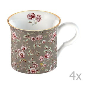 Sada 4 šedých hrnků Creative Tops Katie Alice Ditsy Flower 250 ml