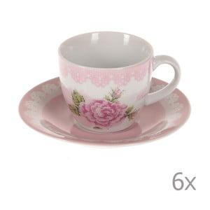 Sada 6 šálků na kávu Pink Roses