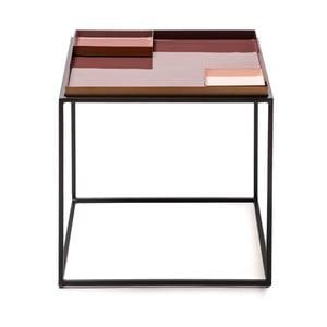 Růžovo-fialový odkládací stolek s 2 tácy 360 Living Caira