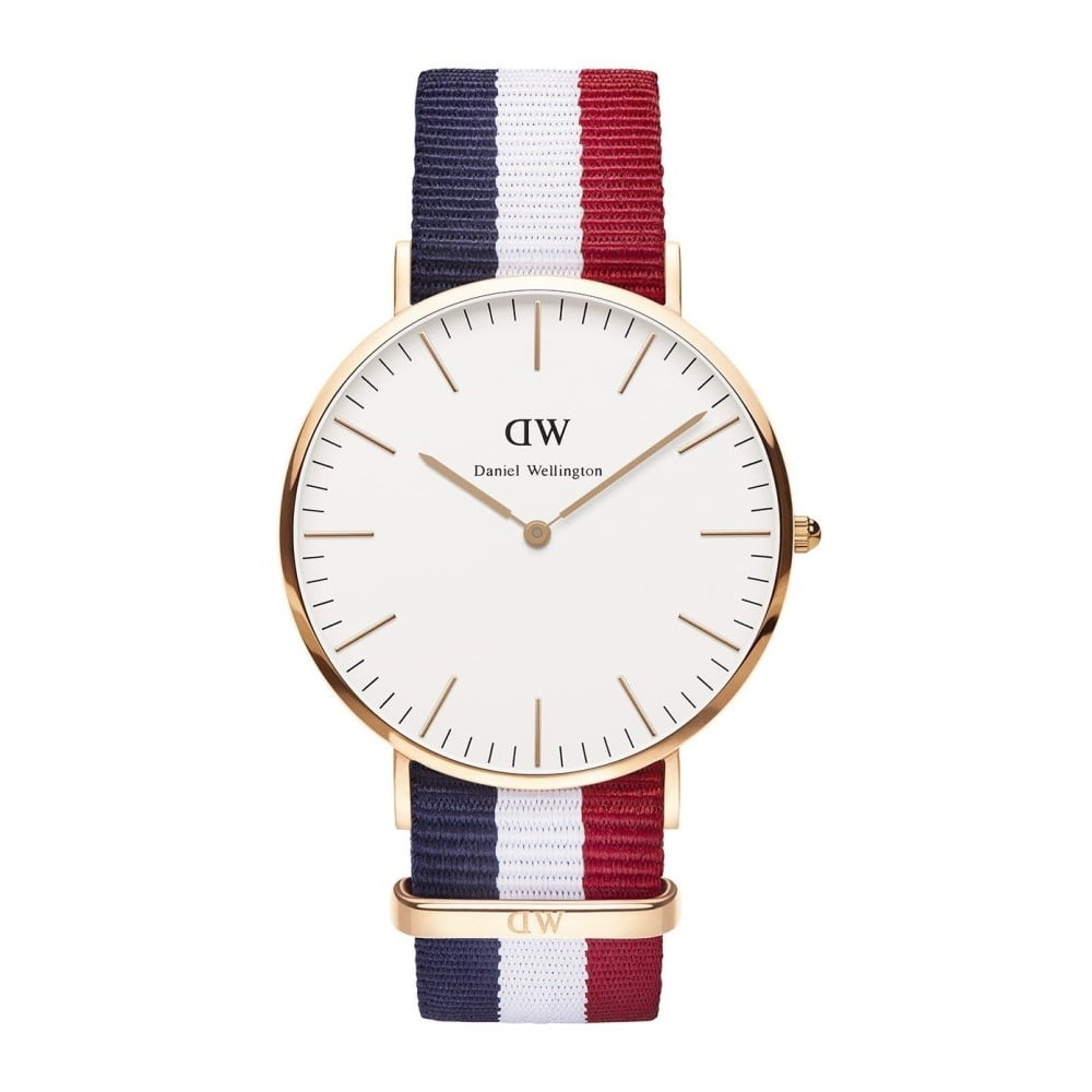 Unisex červeno-modro-bílé hodinky Daniel Wellington Bolton  68ba130eba1